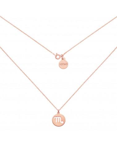 Matowy naszyjnik z różowego złota z zodiakiem Panny