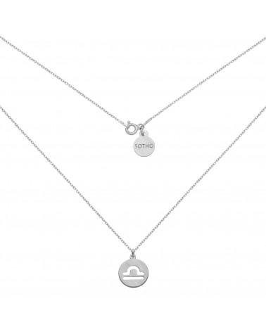 Srebrny matowy naszyjnik z zodiakiem Wagi