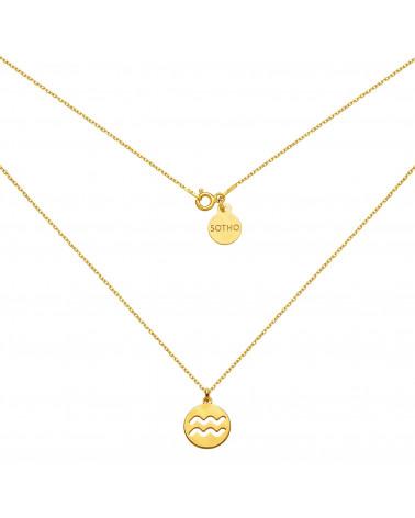 Złoty naszyjnik z rozetką i łososiową perłą SWAROVSKI® CRYSTAL