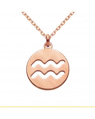 Naszyjnik z różowego złota z rozetką i łososiową perłą SWAROVSKI® CRYSTAL