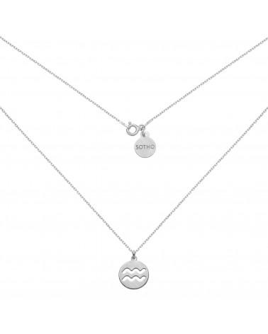 Srebrny naszyjnik z rozetką i łososiową perłą SWAROVSKI® CRYSTAL