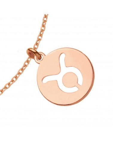 Naszyjnik z różowego złota z rozetką i niebieską perłą SWAROVSKI® CRYSTAL