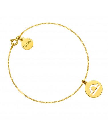 Złota bransoletka z zodiakiem Wagi