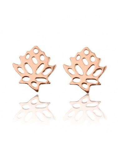 Kolczyki kwiaty lotosu z różowego złota