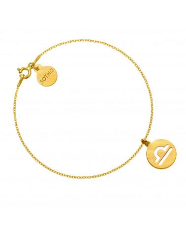 Złota matowa bransoletka z zodiakiem Wagi