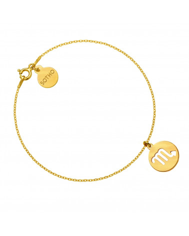 Złota matowa bransoletka z zodiakiem Skorpiona