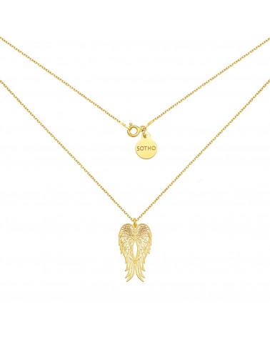 Długi złoty naszyjnik ze skrzydłami