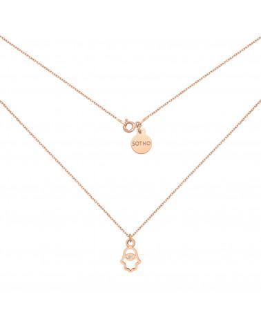 Naszyjnik z różowego złota z ręką Fatimy z kryształem SWAROVSKI® CRYSTAL