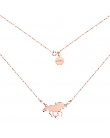 Naszyjnik z koniem różowego złota
