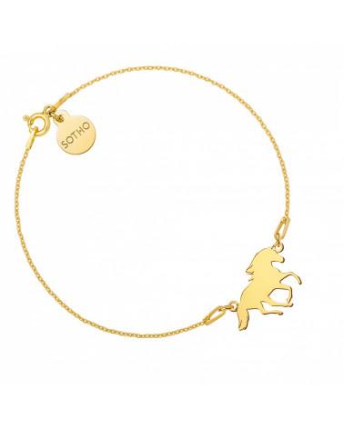 Złota bransoletka z koniem