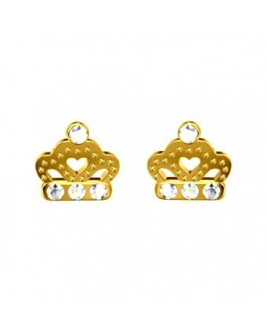Złote kolczyki korony z kryształami Crystal SWAROVSKI® ELEMENTS