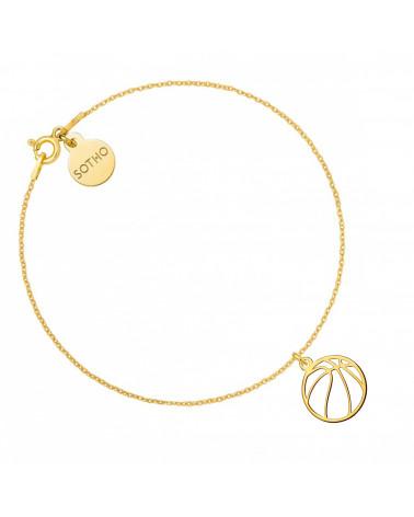 Złota bransoletka z piłką do koszykówki