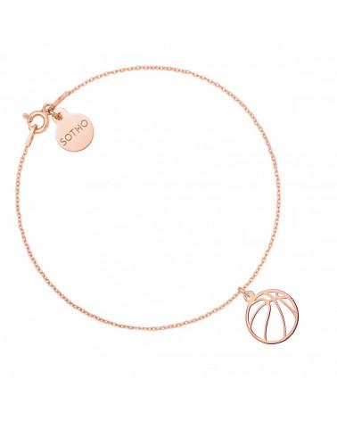 Bransoletka z piłką do koszykówki z różowego złota