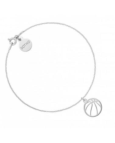Srebrna bransoletka z piłką do koszykówki