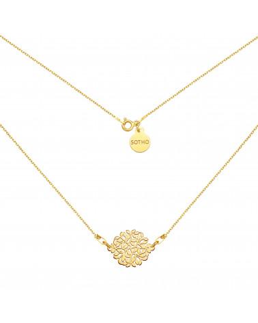 Złoty naszyjnik z rozetą z gałązek