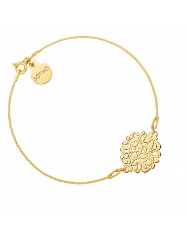 Złota bransoletka z rozetą z gałązek
