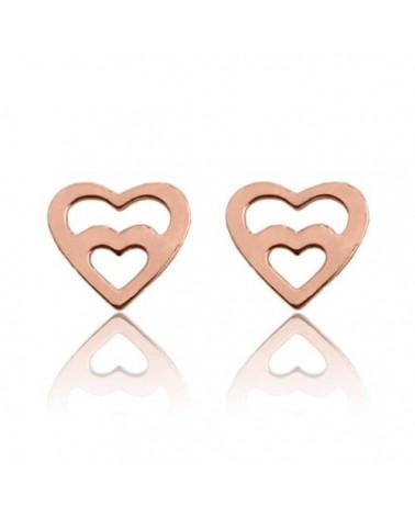 Kolczyki serce w sercu z różowego złota
