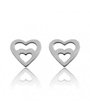 Srebrne kolczyki serce w sercu