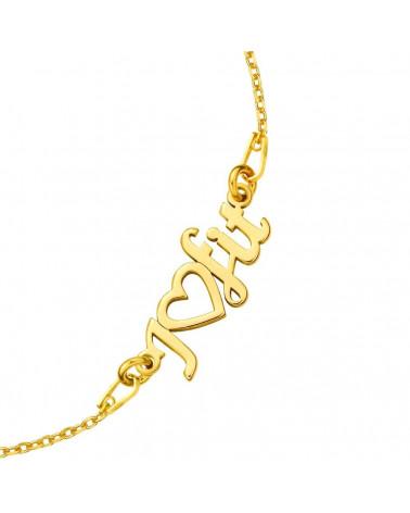 Złota bransoletka z przestrzennym trójkątem