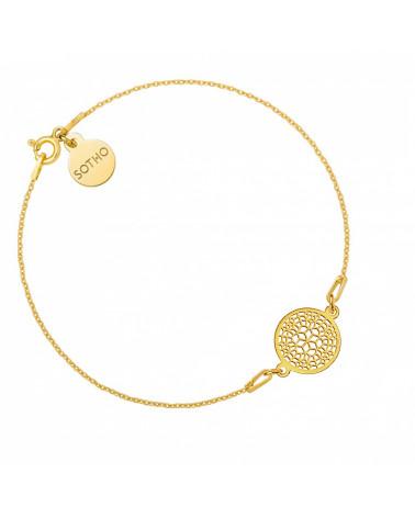 Złota bransoletka z ażurową rozetką