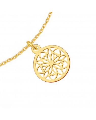 Aksamitny choker w kolorze pastelowym niebieskim z ażurowym liściem z różowego złota