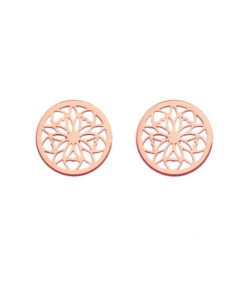 Kolczyki ażurowe rozetki z różowego złota