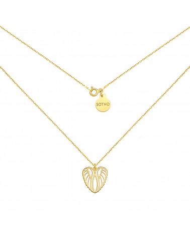 Złoty naszyjnik z ażurowym sercem
