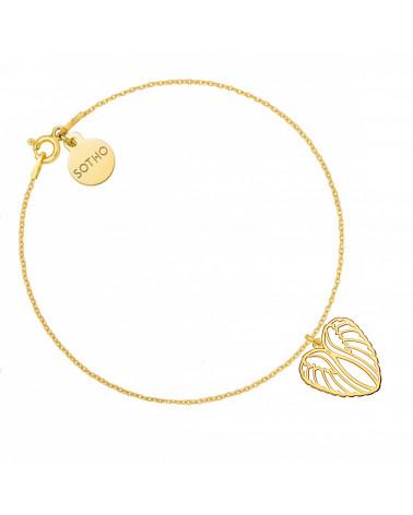Złota bransoletka ze skrzydełkami w krztałcie serca
