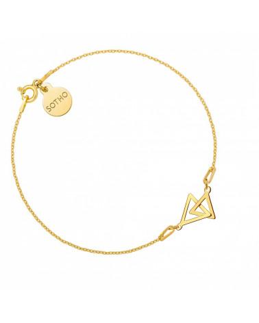 Złota bransoletka z dwoma trójkątami