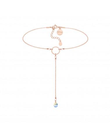 Łańcuszkowy choker z różowego złota z kryształem SWAROVSKI® CRYSTAL