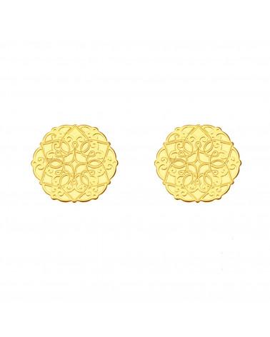 Złote kolczyki ażurowe rozetki