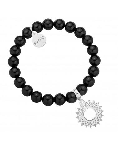 Czarna bransoletka z pereł SWAROVSKI® CRYSTAL ze srebrną rozetą