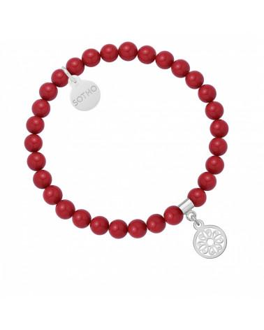 Czerwona bransoletka z pereł SWAROVSKI® CRYSTAL ze srebrną rozetką