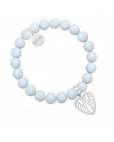 Jasnoniebieska bransoletka z pereł SWAROVSKI® CRYSTAL ze srebrnymi skrzydełkami w kształcie serca