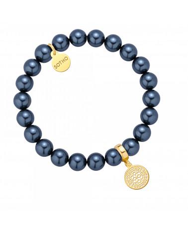 Morska bransoletka z pereł SWAROVSKI® CRYSTAL ze złotą rozetką