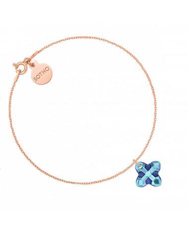 Bransoletka z różowego złota z kryształem SWAROVSKI® CRYSTAL w kolorze niebieskim