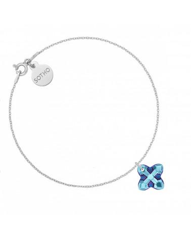 Srebrna bransoletka z kryształem SWAROVSKI® CRYSTAL w kolorze niebieskim