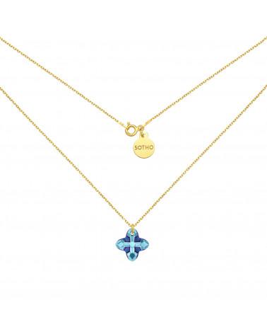 Złoty naszyjnik z kryształem SWAROVSKI® CRYSTAL w kolorze niebieskim