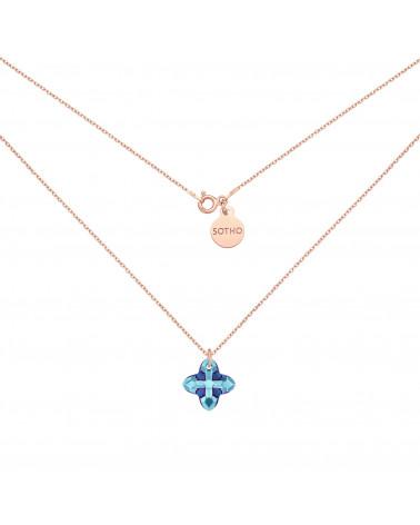 Naszyjnik z różowego złota z kryształem SWAROVSKI® CRYSTAL w kolorze niebieskim