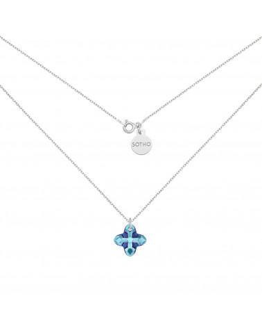 Srebrny naszyjnik z kryształem SWAROVSKI® CRYSTAL w kolorze niebieskim