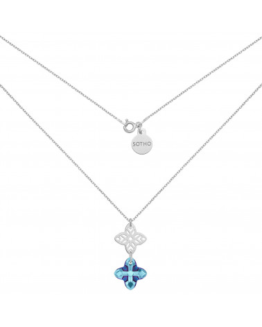 Srebrny naszyjnik z rozetką i kryształem SWAROVSKI® CRYSTAL w kolorze niebieskim