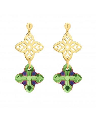 Złote kolczyki z rozetką i kryształem SWAROVSKI® CRYSTAL w kolorze zielonym