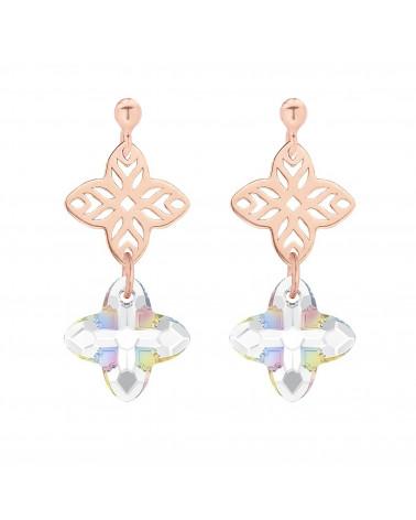 Kolczyki z różowego złota z rozetką i kryształem SWAROVSKI® CRYSTAL w kolorze opalizującym