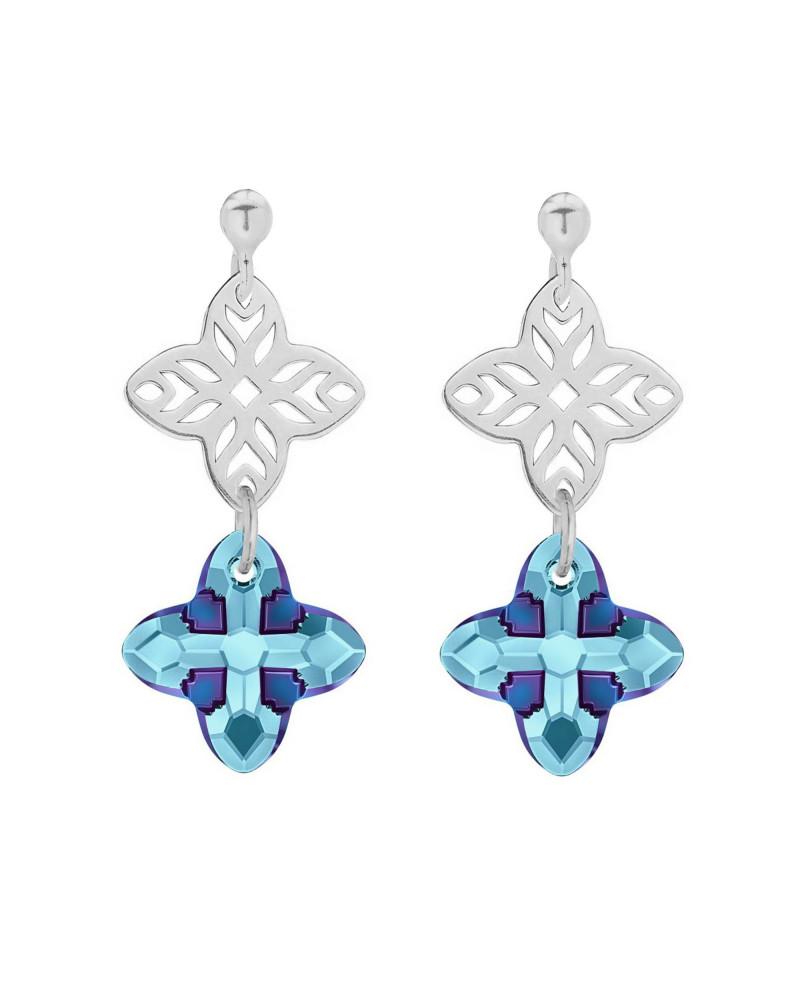 Srebrne kolczyki z rozetką i kryształem SWAROVSKI® CRYSTAL w kolorze niebieskim