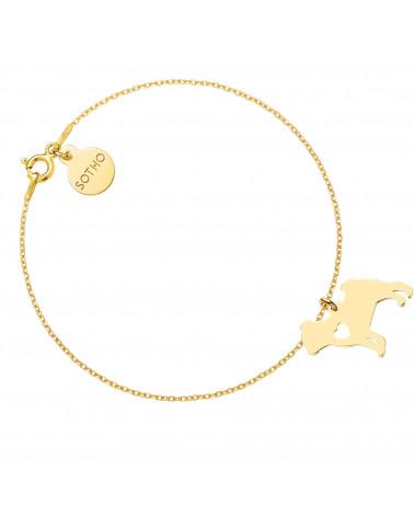 Złota bransoletka z psem rasy Mops