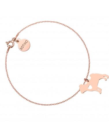 Bransoletka z różowego złota z psem rasy Mops
