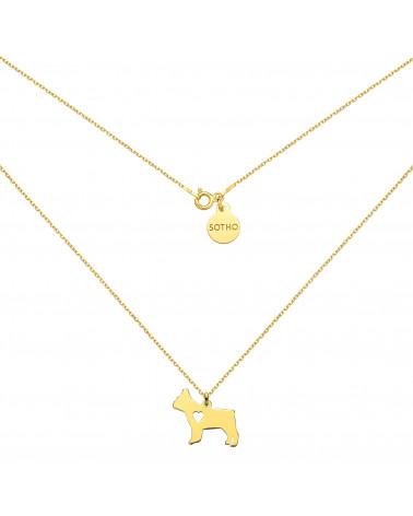 Złoty naszyjnik z psem rasy buldog francuski