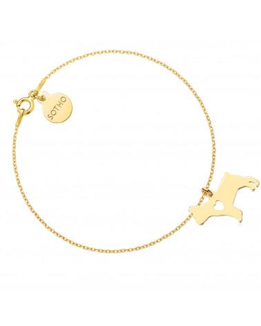 Złota bransoletka z psem rasy buldog francuski