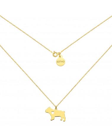 Złoty naszyjnik z psem rasy buldog angielski