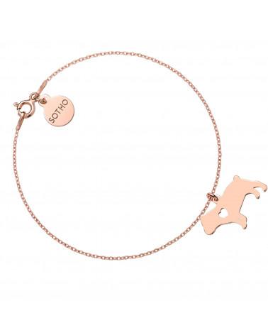 Bransoletka z różowego złota z psem rasy buldog angielski